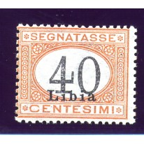 1930 Libia Segnatasse 40 cent cifre nere