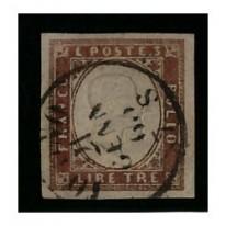 1861 ASI Sardegna 3 lire rame vivo usato
