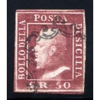 1859 Sicilia 50 grana lacca bruno usato