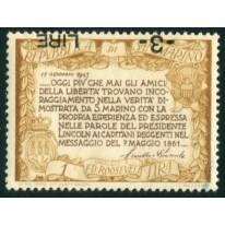 1947 San Marino Roosevelt  3 lire su 1 lira