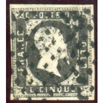 1851 Sardegna 5 cent. usato spl