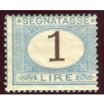 1870 Regno Segnatasse 1 lira cifra bruna nuovo