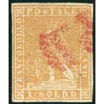 1857 Toscana 1 soldo ocra II emissione splendido