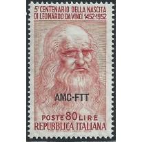 1952 Trieste A Leonardo 80 lire dentellato a pettine