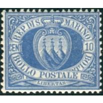 1877 San Marino 10 cent. oltremare CENTRATO