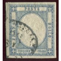 1861 Province Napoletane 50 ardesia oltremare usato