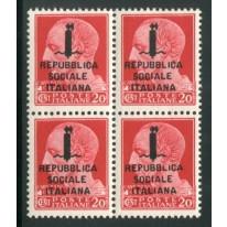 1944 RSI 20 cent. Giulio Cesare sovrastampato quartina