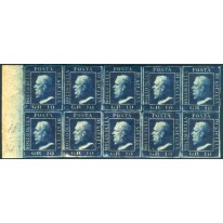 1859 Sicilia 10 grana azzurro cupo blocco di 10