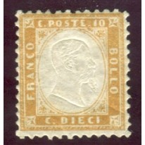 1862 Regno numero 1 10 cent. bistro oliva
