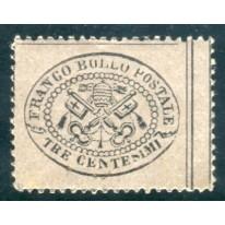 1868 Pontificio 3 cent. grigio rosa